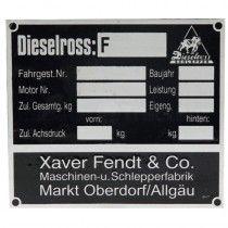 Plaque signalétique Dieselross - Fendt - F12 à F40 Fendt - 1