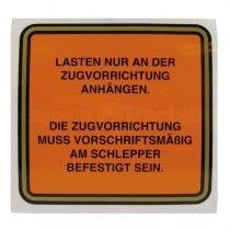 Autocollant - dispositif de remorquage - en Allemand - McCormick et IHC - DLD 2, DED 3, DGD 4, Série D 200, 300 et 400 IH - Inte