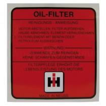 Autocollant - filtre à huile - en Allemand - McCormick et IHC - DLD 2, DED 3, DGD 4, Série D 200, 300 et 400 IH - International