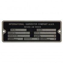 Plaque signalétique - McCormick et IHC - DLD2, DED3, DGD4, Série D 200, 300 et 400 IH - International Harvester - 1