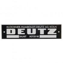 Plaque signalétique moteur, en allemand - Deutz Deutz - 1