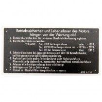 Plaque signalétique sécurité, en allemand - Deutz série D et D05 Deutz - 1