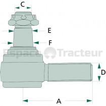 Rotule de la barre de direction Cône 18-20 - Farmer 102, Farmer 103 Fendt - 1