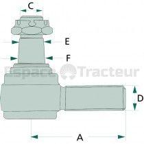 Rotule de la barre de direction Cône 18-20 - Fendt FW258, Farmer 104, 105, 106, 108 Fendt - 1